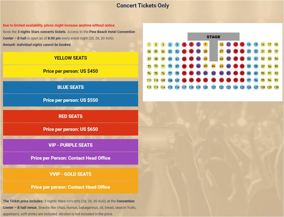Arabian singers summer concert in Antalya Ticket list price
